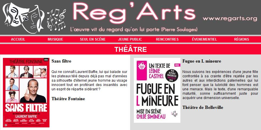 Reg'Arts Home Page