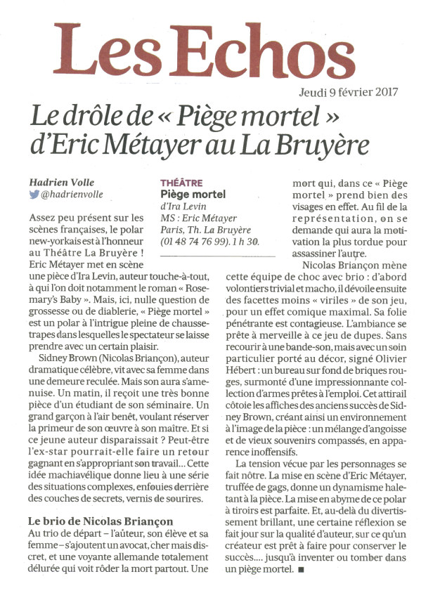Pi ge mortel au th tre de la bruy re avis et r servation - Theatre de la bruyere ...